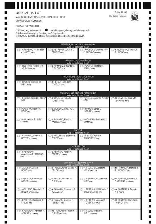 official ballot